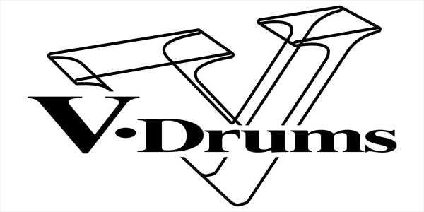 Sticker V-Drums Logo, Schwarz auf Weiß