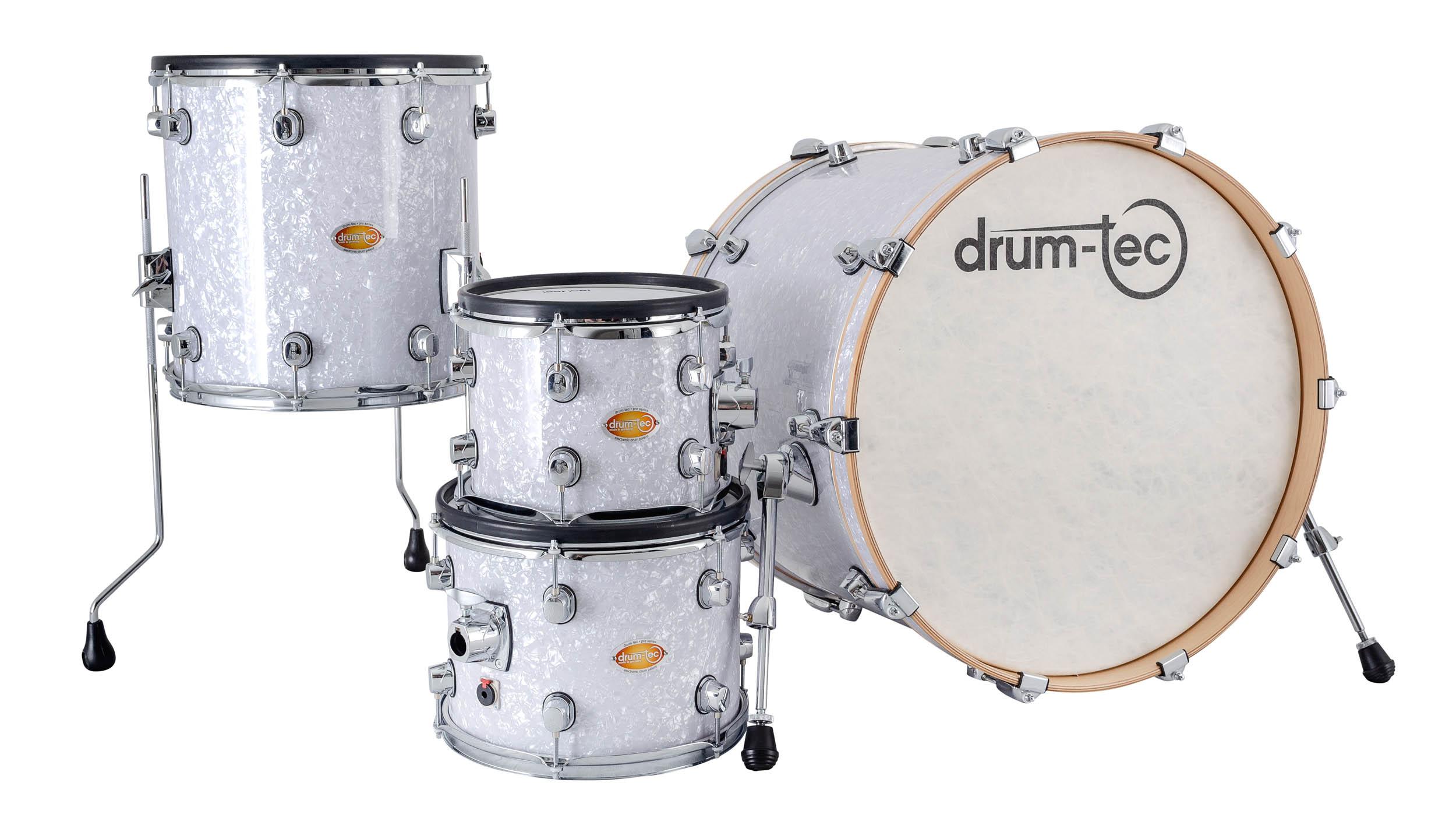 drum-tec pro custom Shell Set 4-pcs  (white pearl)